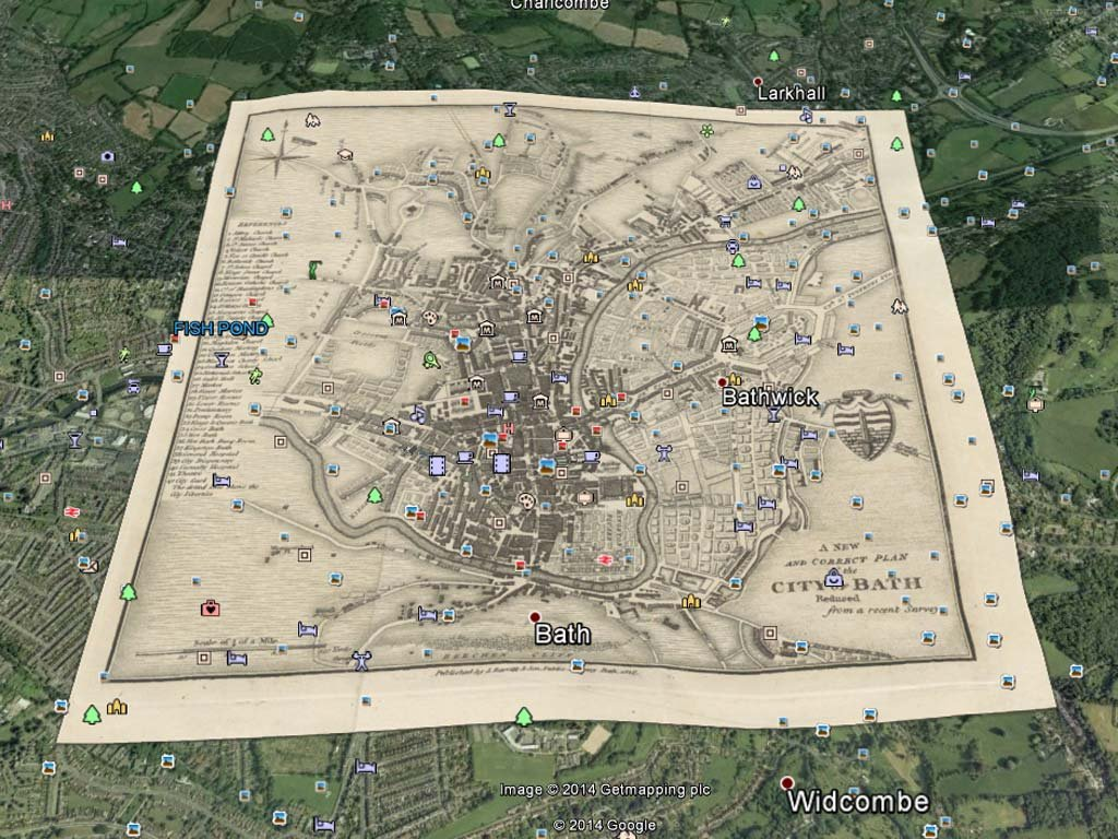 Leigh's historic map of Bath
