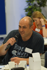 Chris pitching in at BlueLightCamp 2014