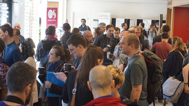 """First Open Data Camp attracted enthusiasts across the country to Winchester. Huge gathering Image by <a href=""""https://www.flickr.com/photos/sashataylor/with/15987877744/"""">Sasha Taylor</a> via Flickr."""