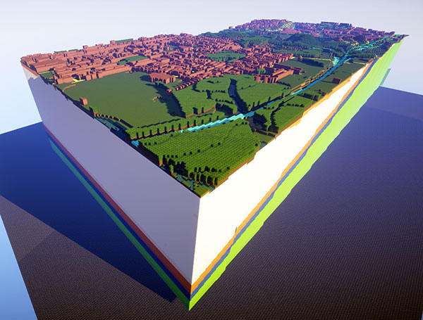West Thurrock geology and topo 3D Minecraft model