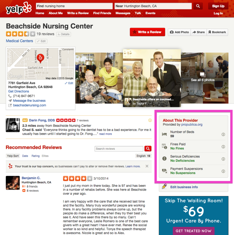 Nursing Home Yelp highlight