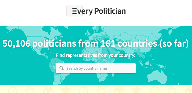 A screenshot of EveryPolitician.