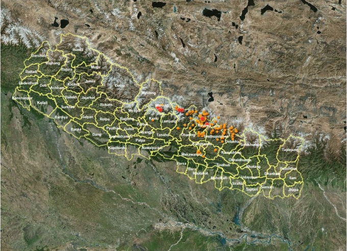 Nepal Landslide sights by NASA and United States Geographic Survey