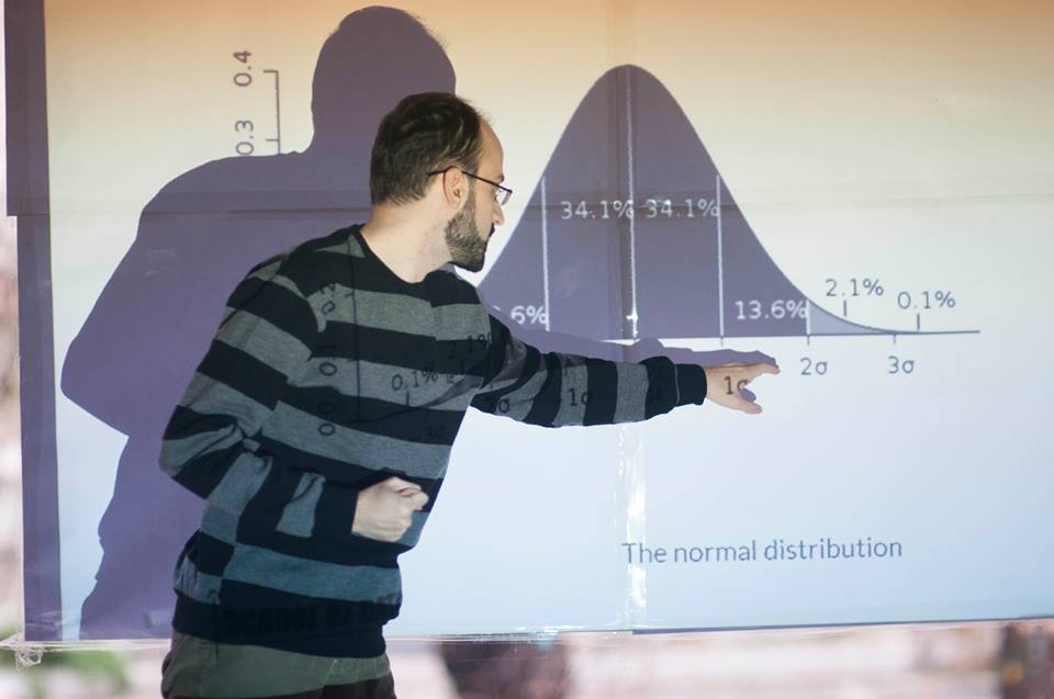 Developer Baze Petrushev showed participants how to use the Normal Distribution to find stories in data